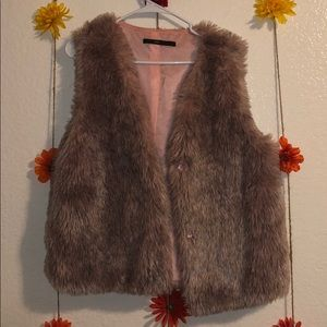 Fuzzy pink and black vest